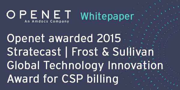 Openet awarded 2015 Stratecast | Frost & Sullivan Global Technology Innovation Award for CSP billing